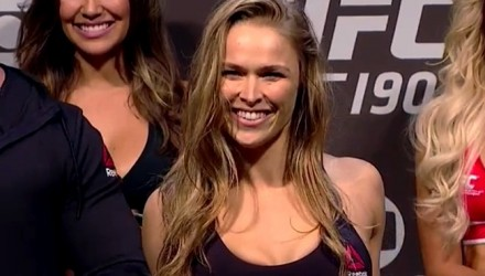 Ronda Rousey UFC 190 weigh smile