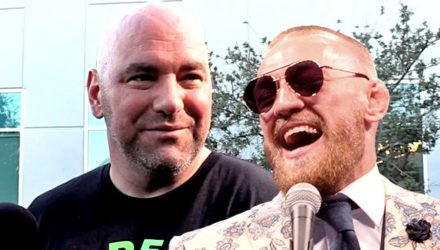 Dana White smile and Conor McGregor laughing