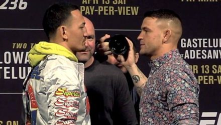 UFC 236 - Holloway vs Poirier staredown
