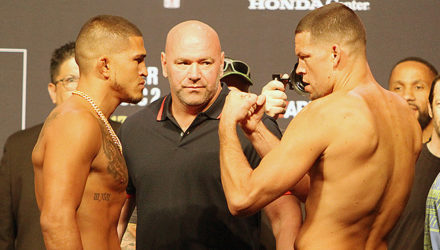Anthony Pettis vs Nate Diaz UFC 241 weigh-in face-off