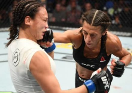 Joanna Jedrzejczyk punches Michelle Waterson at UFC on ESPN+ 19